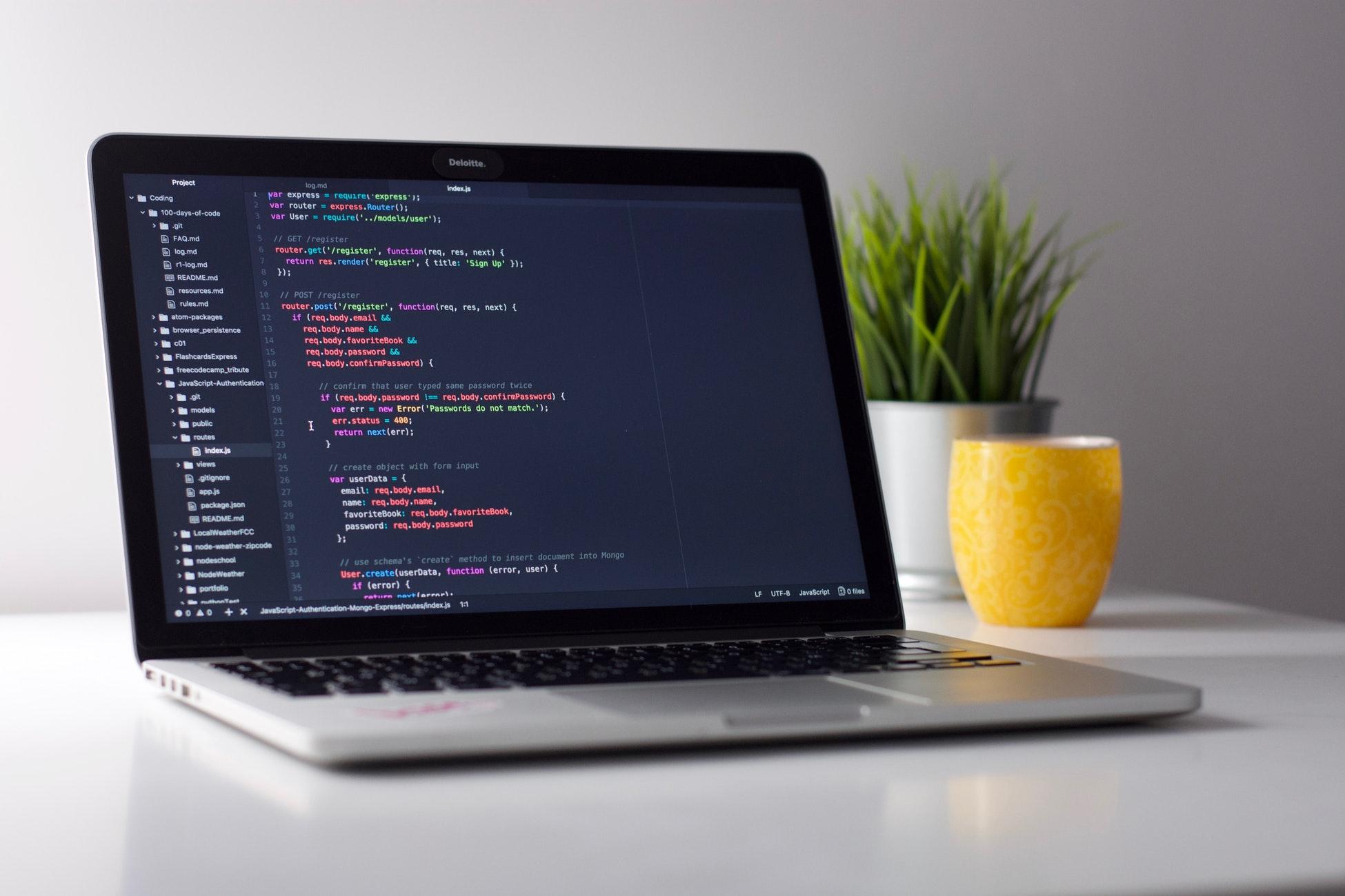 code editor window in mac laptop